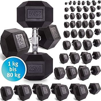 C.P. Sports Hexagon – Mancuerna de goma 1 kg – 60 kg – con revestimiento y