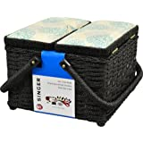 Singer 07235 Square Picnic Vintage Sewing Basket with Notions