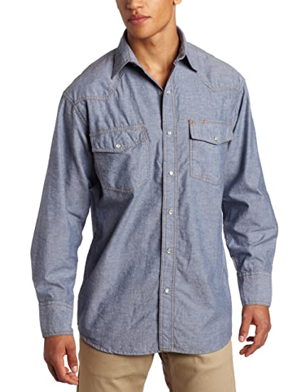 e7542464 Key Apparel Men's Pre-Washed Blue Chambray Western Snap Long Sleeve Shirt