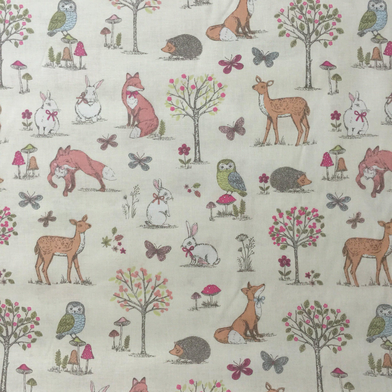 Animal Cream 100 Lifestyle Cotton Print Woodlands Collection Boys Girls Nursery Kids Childrens