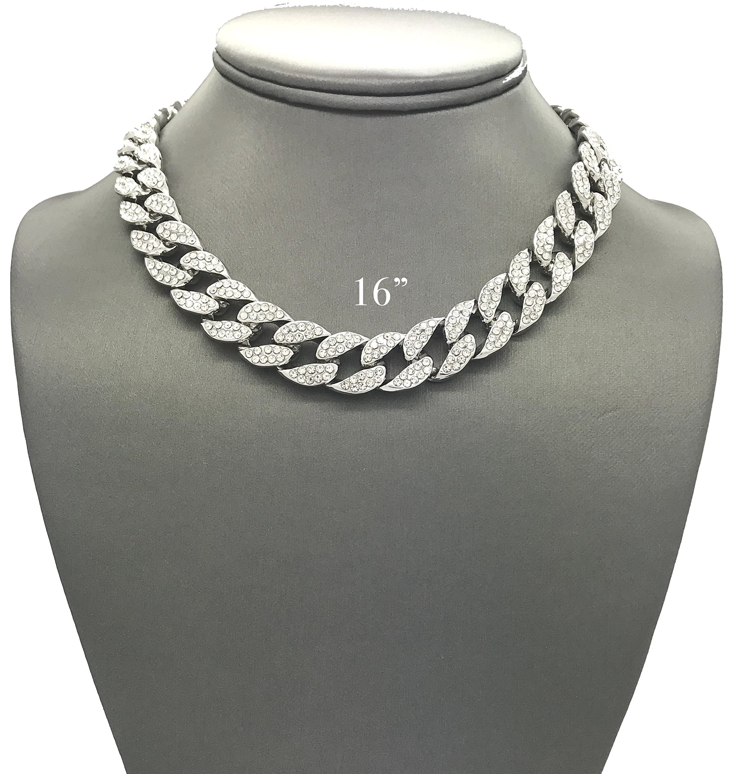Mens Iced Out Hip Hop Silver tone CZ Miami Cuban Link Chain Choker Necklace (16'')