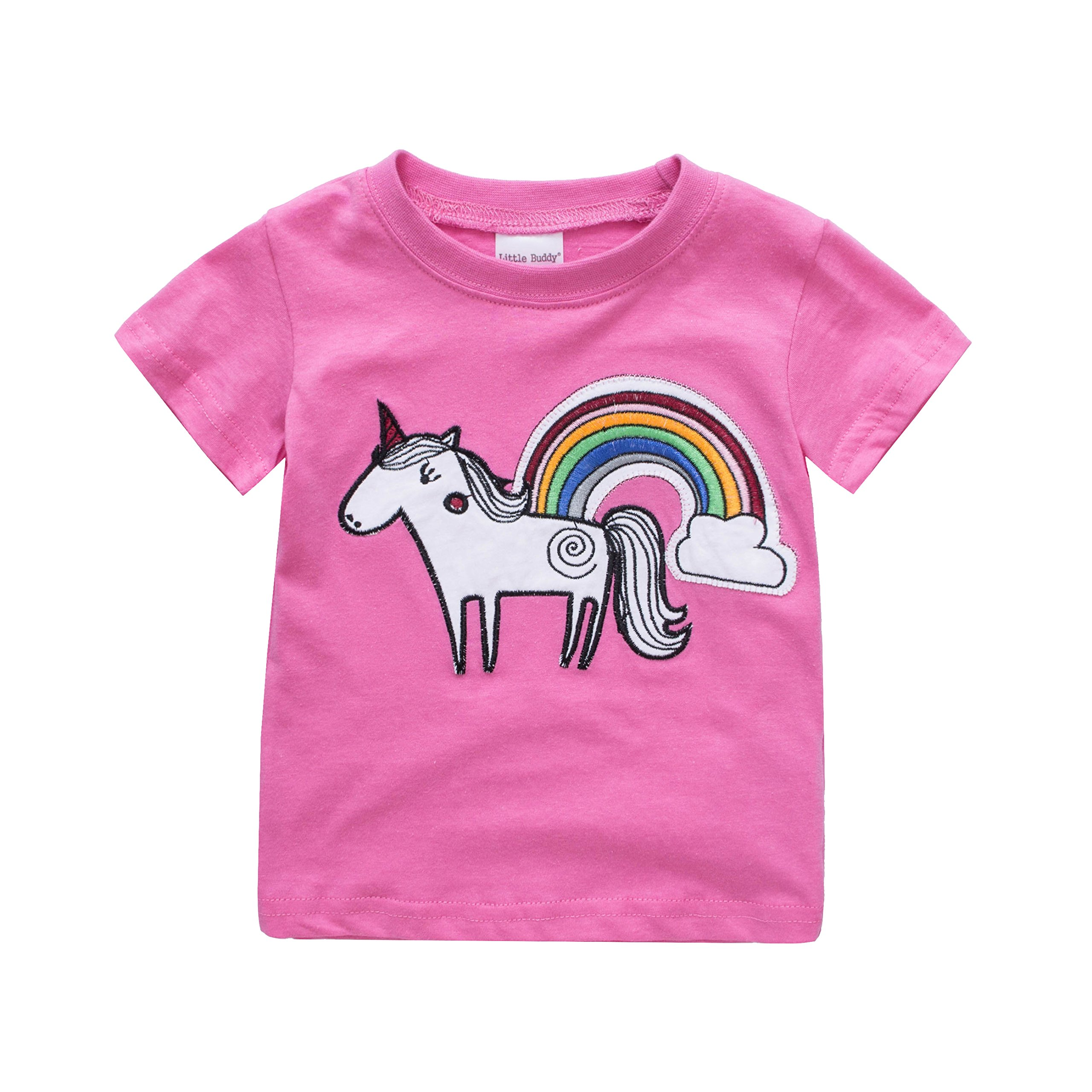 Toddler Boys Girls T-Shirts Tops Organic Short-Sleeved Cute Animals Prints Embroidery Unisex 2t-7t (2T, Rose)