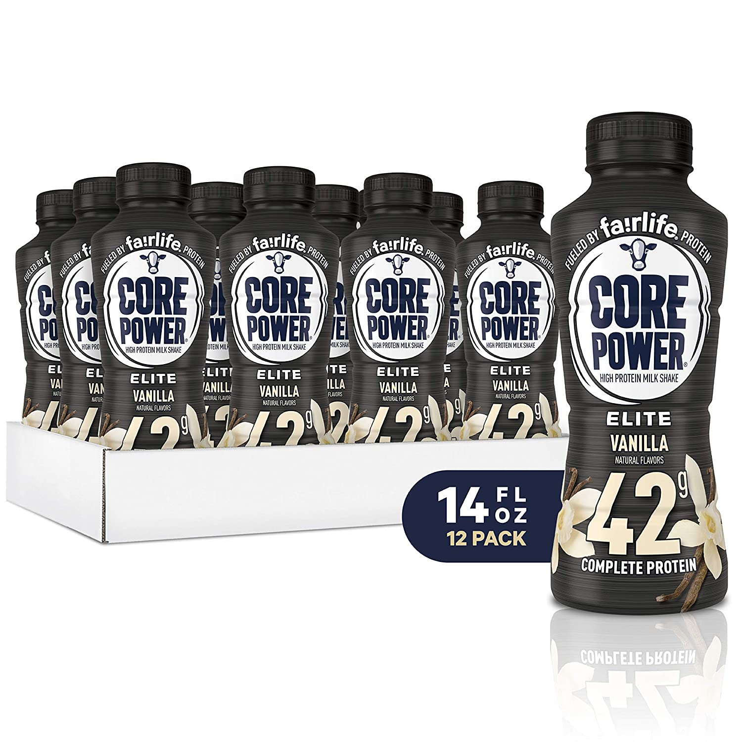 Core Power Elite High Protein Shake (42g), Vanilla, Ready To Drink for Workout Recovery, 14 Fl Oz Bottles (12 Pack)