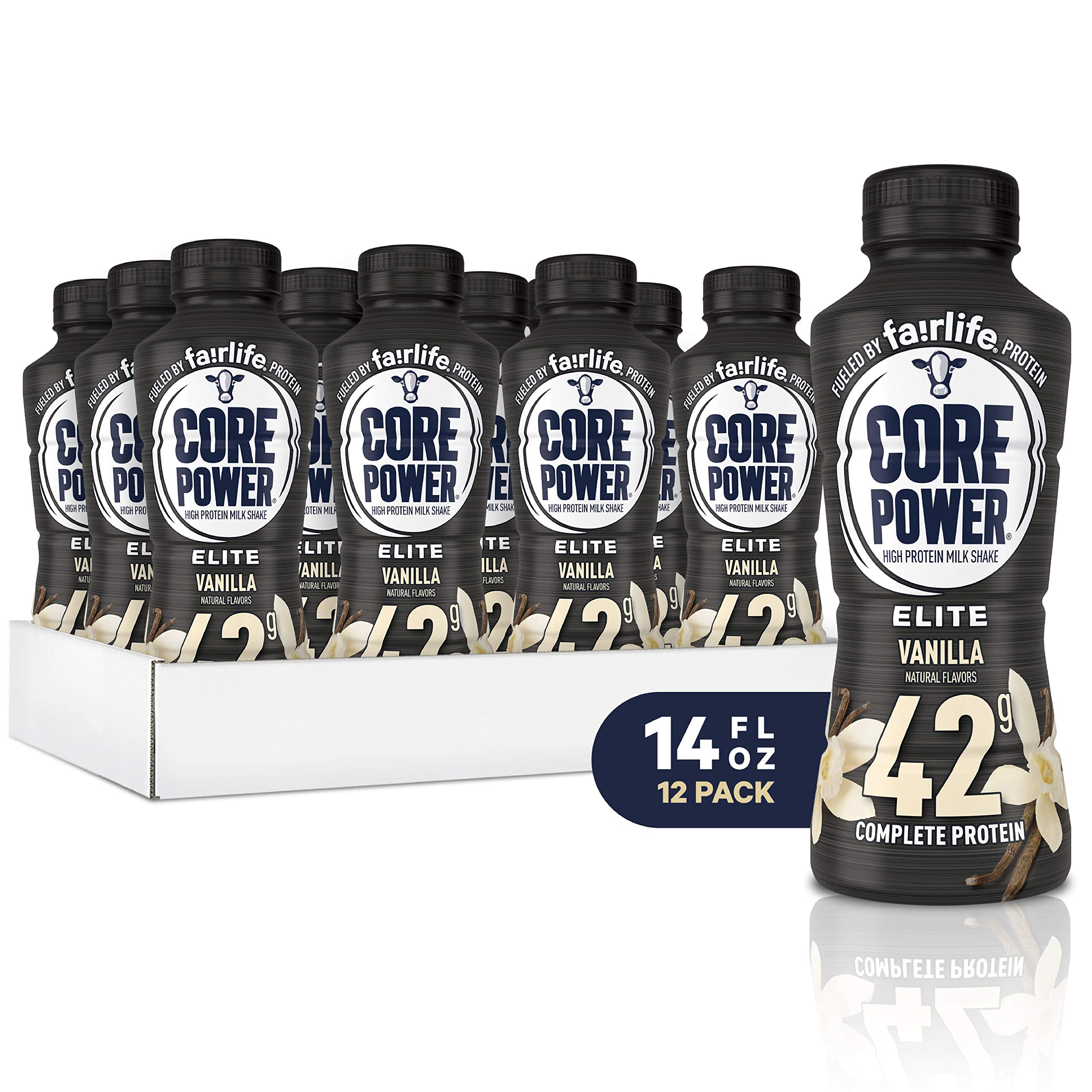 Core Power Elite High Protein Shakes (42g), Vanilla, Ready To Drink for Workout Recovery, 14 Fl Oz Bottles (12 Pack) by Core Power
