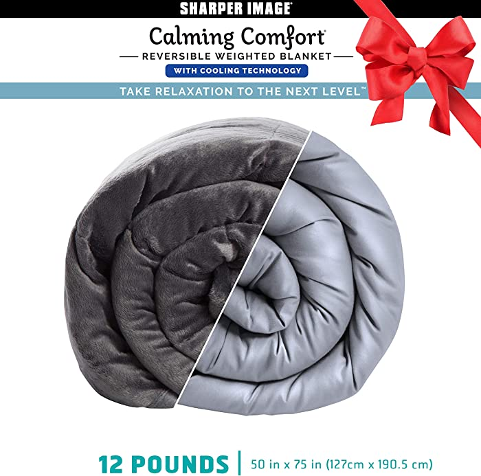 Calming Comfort Reversible Cooling Weighted Blanket by Sharper Image- Dual Sided Viscose Bamboo & Soft Velveteen for Hot & Cold Sleepers, Heavy Blanket for Adults, BPA-Free Microbeads- 12 lbs
