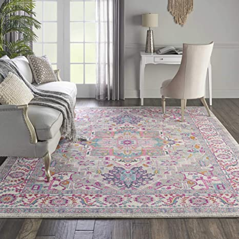 Amazon Com Nourison Psn20 Passion Persian Colorful Light Grey Pink Area Rug 8 X 10 Furniture Decor