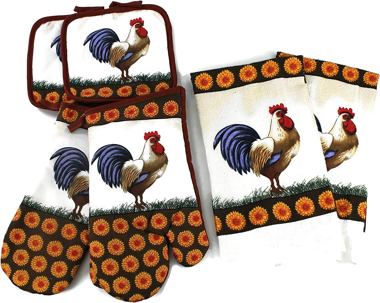 High End Home Farmhouse Rooster Collection 6 Piece Kitchen Decor Linen Set, Includes 1 Year Warranty, 2 Tea Towels, 2 Oven Mitts and 2 Pot Holders, Blue Tail Orange and Brown