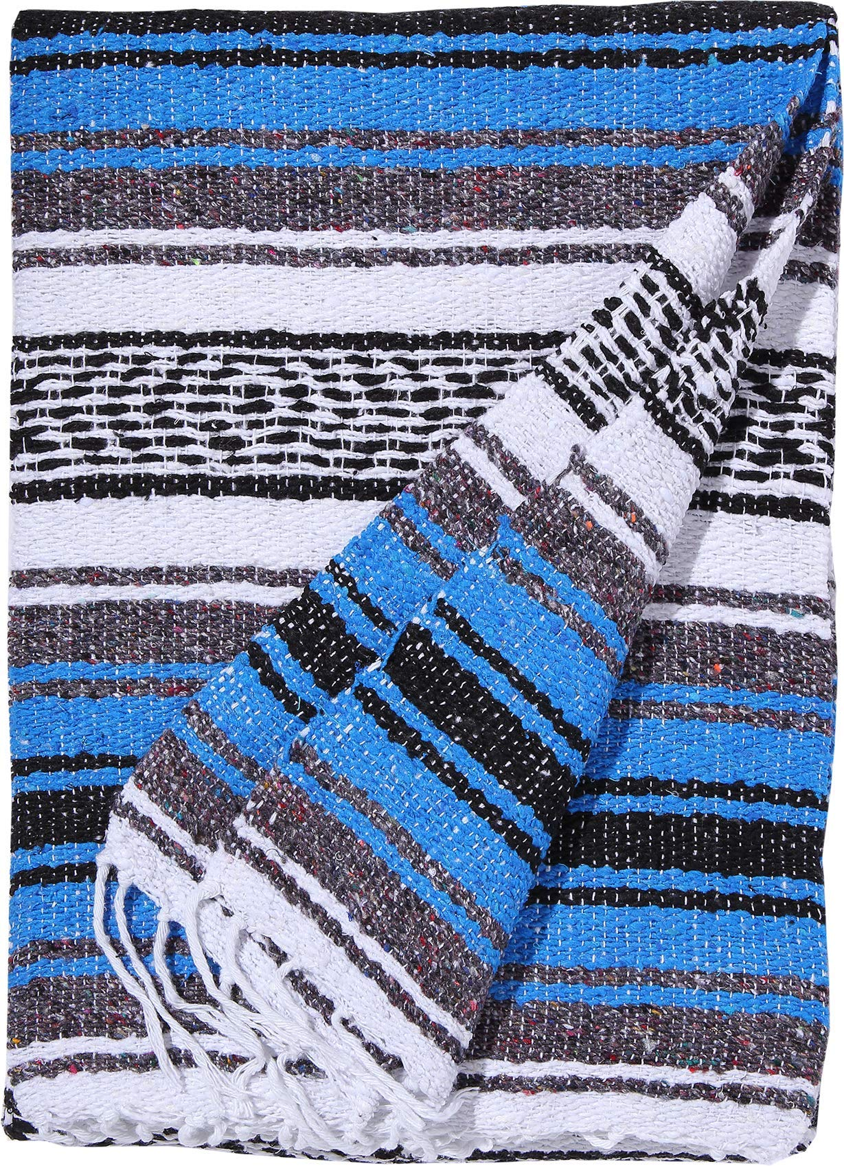 El Paso Designs Genuine Mexican Falsa Blanket - Yoga Studio Blanket, Colorful, Soft Woven Serape Imported from Mexico (Blue) by El Paso Designs (Image #2)