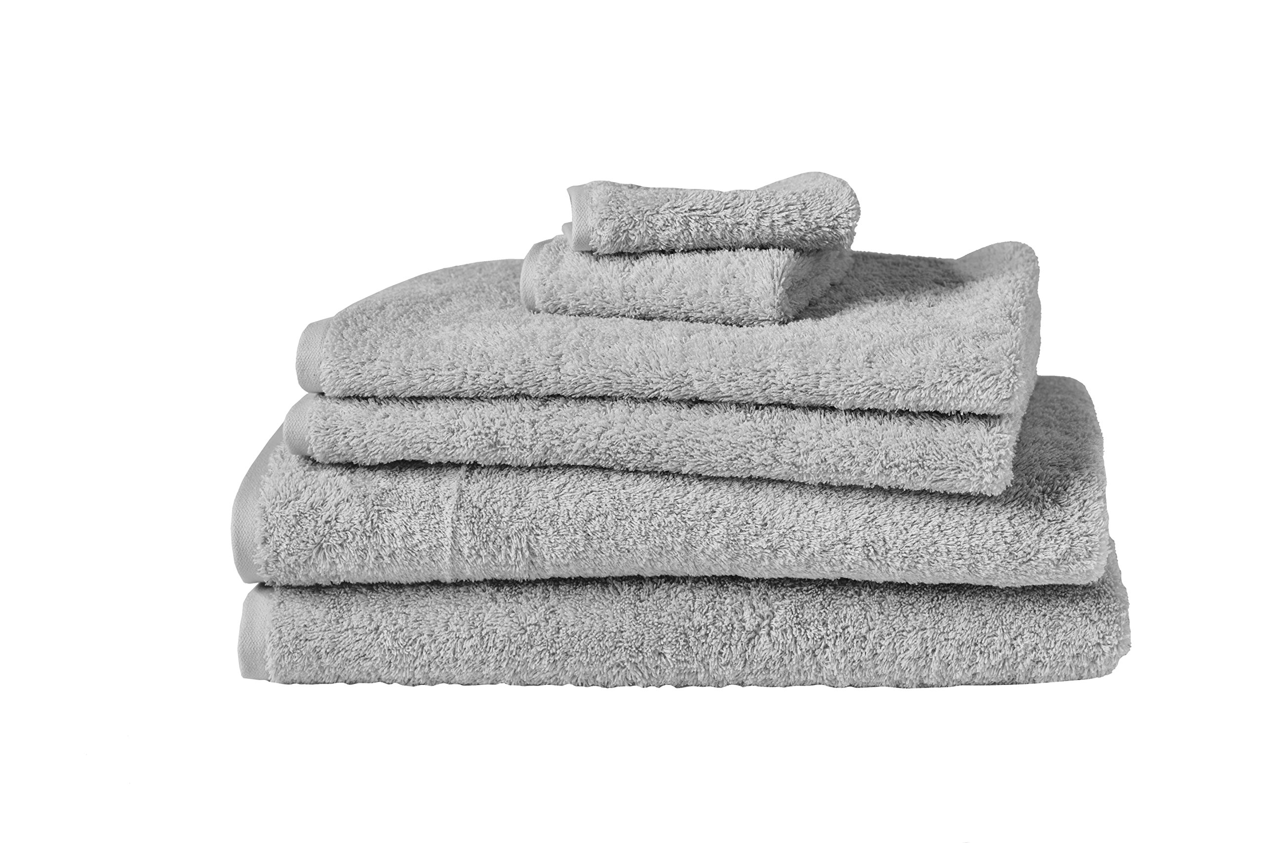 Coyuchi 1020314 6 Piece Organic Cloud Loom Towel Set, Fog