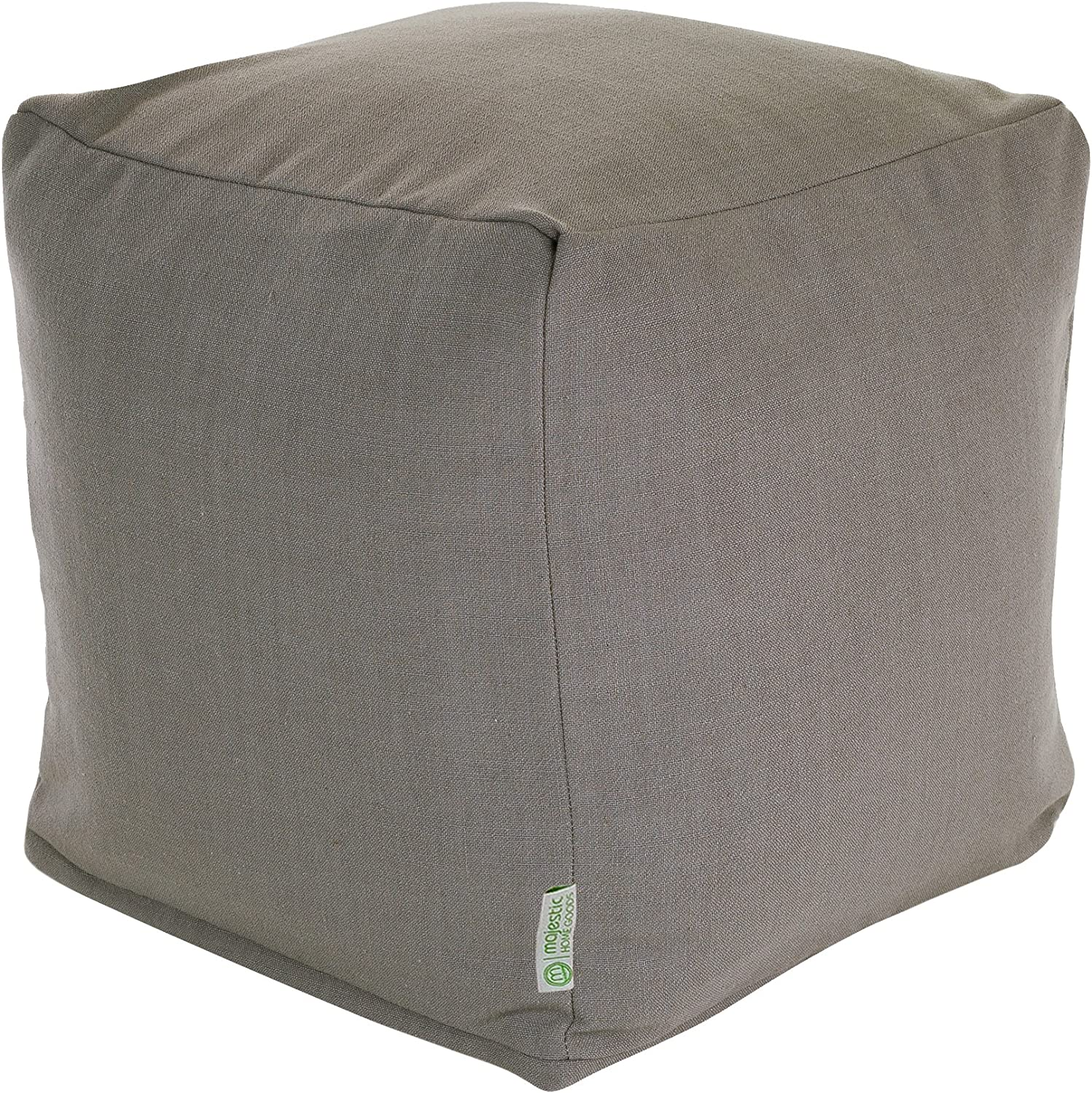 """Majestic Home Goods Gray Wales Indoor Bean Bag Ottoman Pouf Cube 17"""" L x 17"""" W x 17"""" H"""