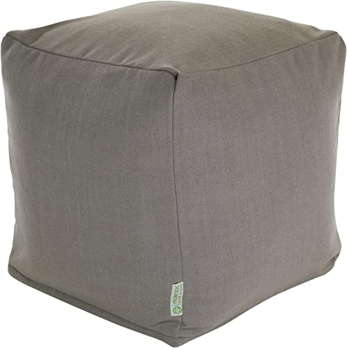 Majestic Home Goods Gray Wales Indoor Bean Bag Ottoman Pouf Cube 17″ L x 17″ W x 17″ H