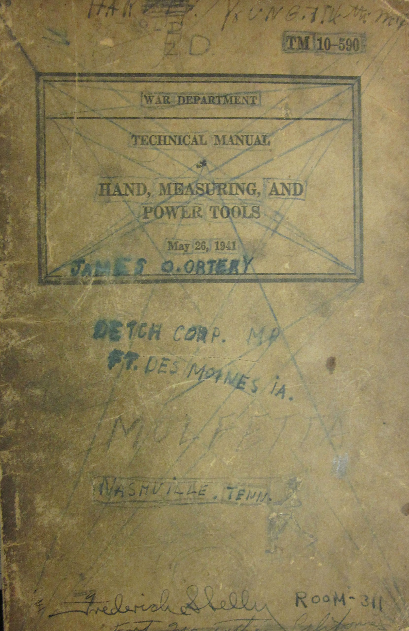 Technical Manual - Hand, Measuring and Power Tools, (War Department, TM 10-590 Dated May 26, 1941)