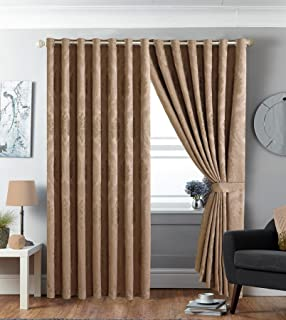 Curtains Ideas 220 drop curtains : Luxury Ring Top Jacquard Betty Burgundy Eyelet Fully Lined Pair ...