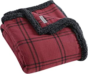 Eddie Bauer | Flannel Collection | Throw Blanket-Reversible Sherpa Fleece Cover, Soft & Cozy, Perfect for Bed or Couch, Kettle Falls Red