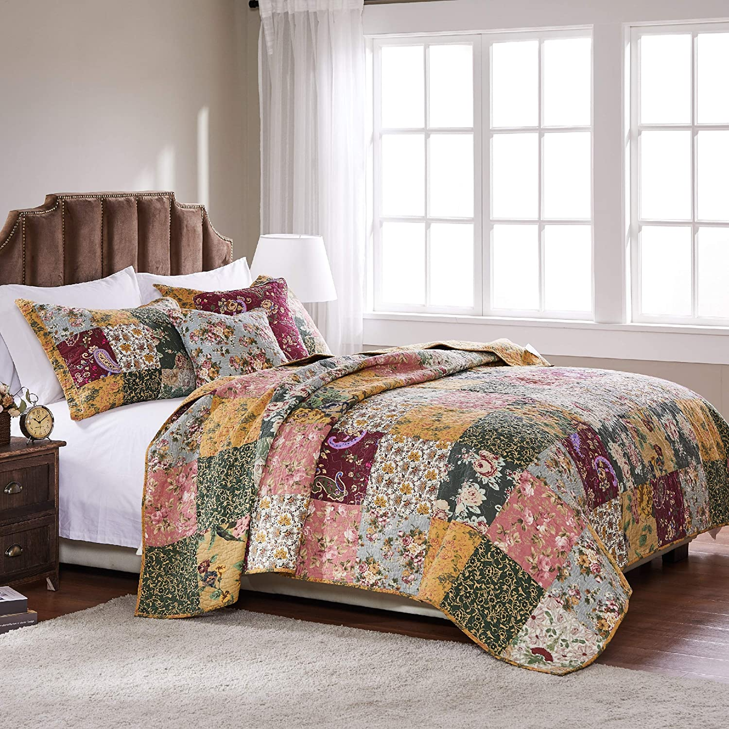 Pillow Greenland Home Fashions Antique Chic Quilt Set Includes Bonus 16 in