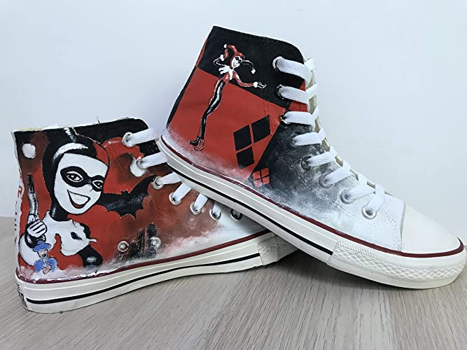 3449794473eb Harley Quinn Suicide Squad Custom Chuck Taylor Riverdale Shoes Sneakers For  Girls Hand Painted Shoes Hi Top Shoes Custom Chuck Taylors Men Women FREE  ...