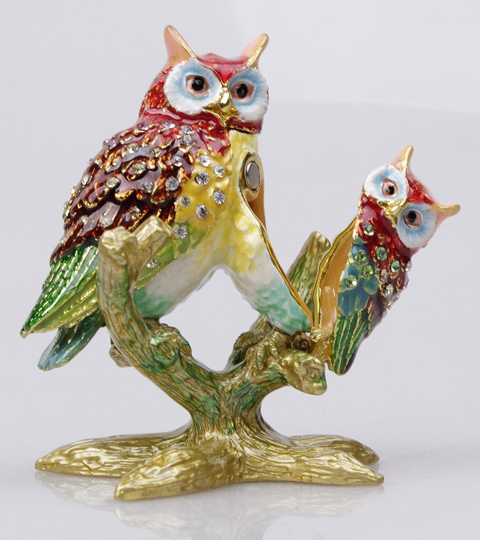 Amazon.com: Bejeweled Pewter Mother U0026 Baby Owls Trinket Box Owl Home Decor  Display (Red): Home U0026 Kitchen