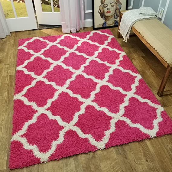 Shag Area Rug New Moroccan Trellis Pink Everyday Use 3 3 X 4 8 39 Inch X 56 Inch Kitchen Dining Amazon Com