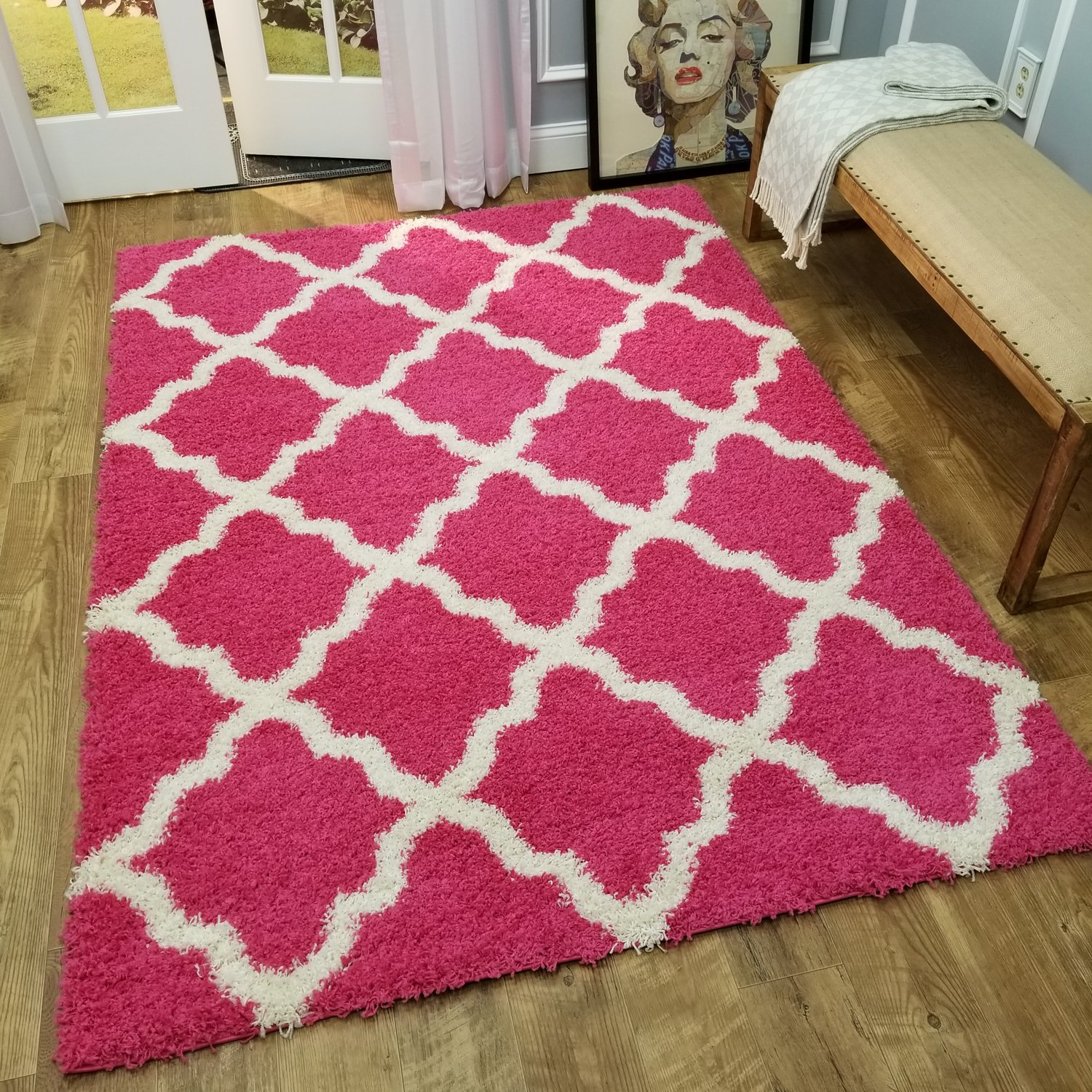 Amazon Com Maxy Home Shag Area Rug 3x5 New Moroccan Trellis Pink