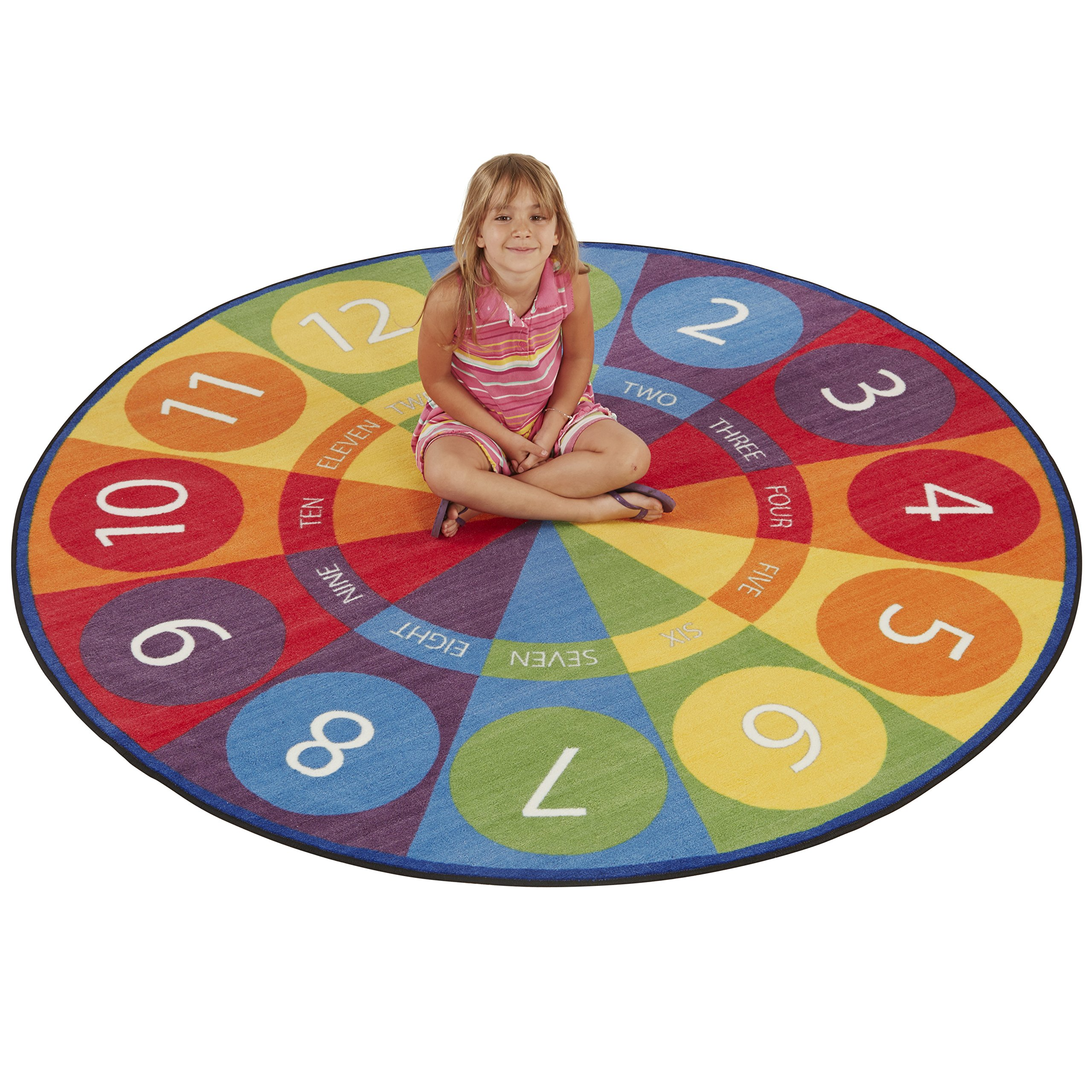 ECR4Kids Tick-Tock Clock Educational Circle Activity Rug for Children, School Classroom Learning Carpet, Round by ECR4Kids (Image #2)