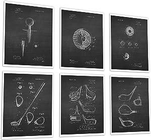 Golf Patent Wall Art Prints Set of 6 Unframed Golf Wall Art Prints Golf gifts Golf_Chk6A