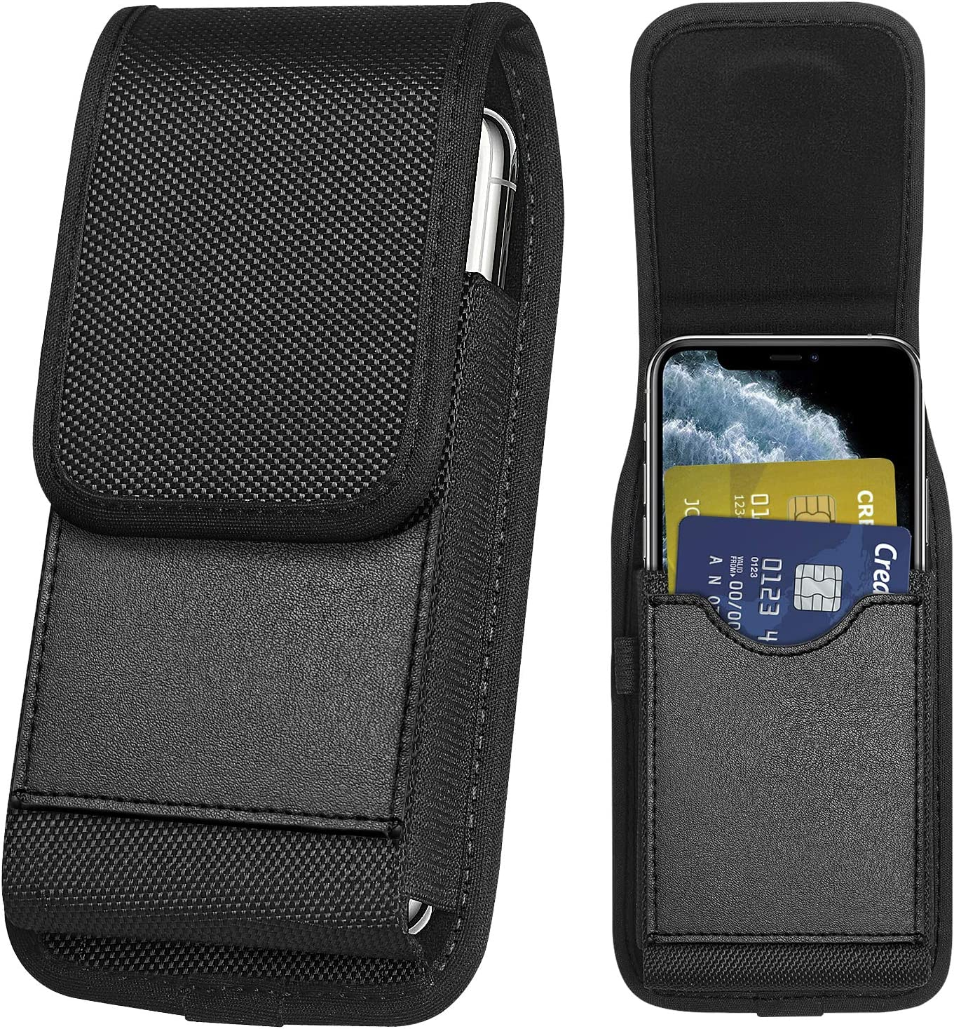 ykooe Vertical Nylon Holster Compatible with iPhone SE2 2020 7 8 11 Pro XR X Carrying Cell Phone Holster Belt Holder Case Pouch with Card Slot for Samsung Galaxy A01 A51 S20 S10 S9 S10e A20 Moto