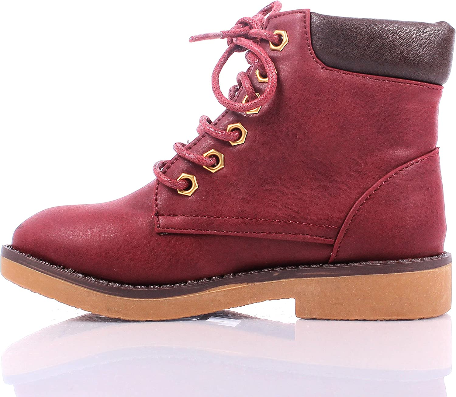 weyoh New Casual Two Tone Style Lace up Girls Military Combat Kids Ankle Boots Youth Size Shoes New Without Box