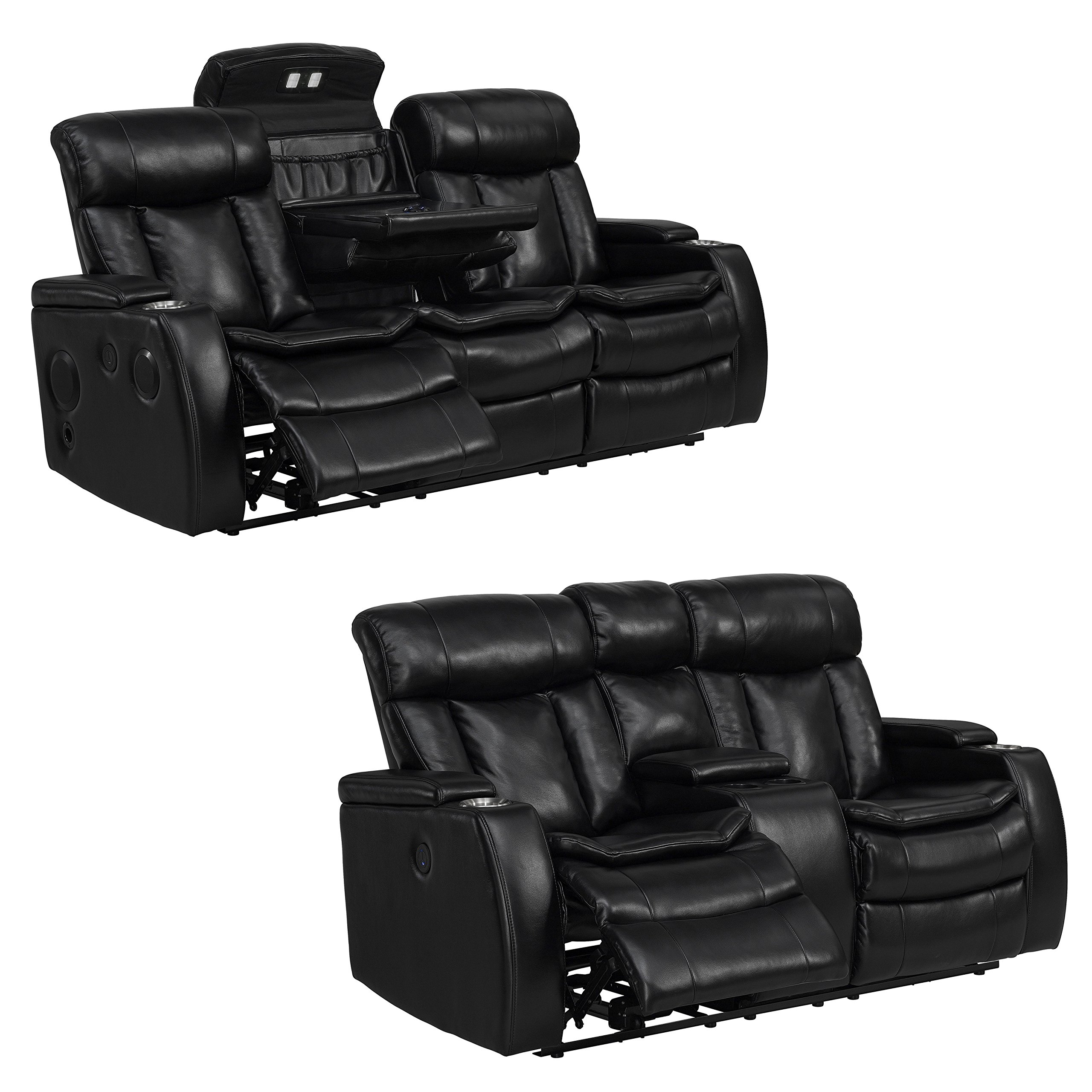 Sofaweb.com Inc. Smart Tech Bluetooth Power Reclining Black Sofa and Loveseat