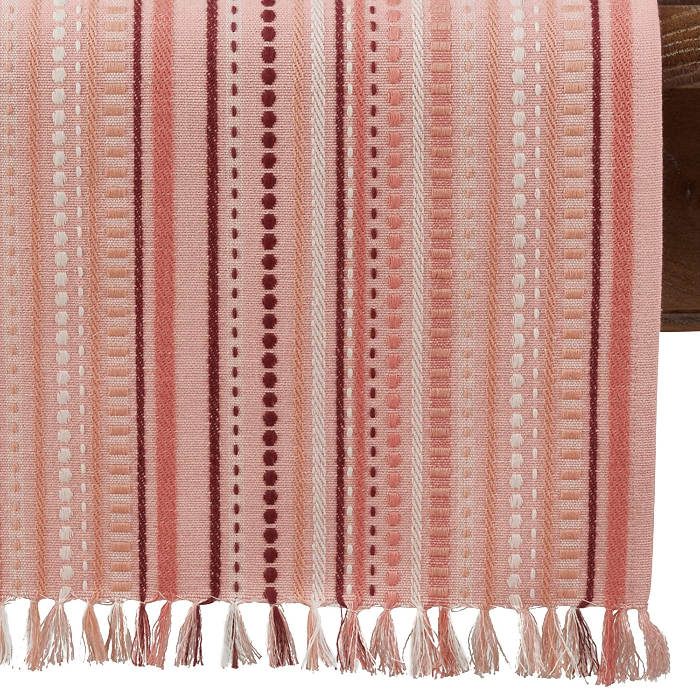 SARO LIFESTYLE 9745.SL1372B Livia Collection Stitched Design Table Runner 13 x 72 Salmon