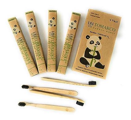TOMARCO | Cepillos de dientes de bambú sostenibles | Paquete de 4 | Cerdas de carbón