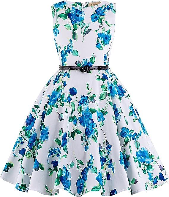 Girls Sleeveless Vintage Print Swing Party Dress