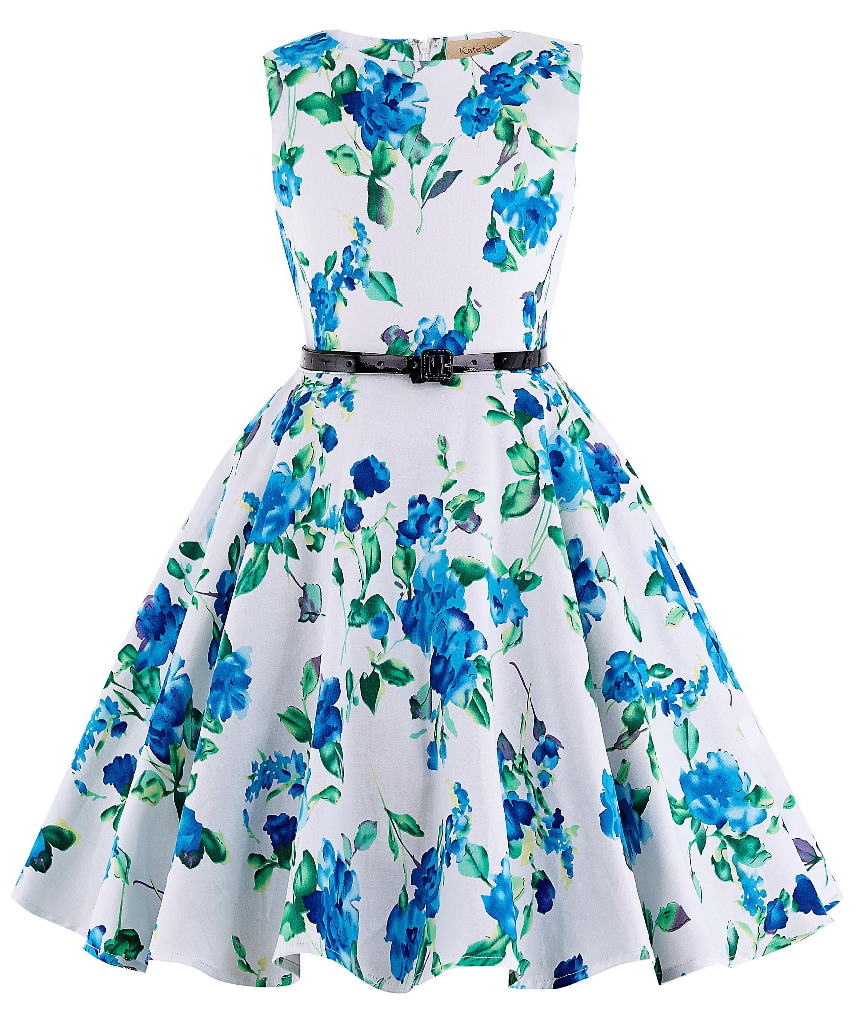 GRACE KARIN Blue Floral Vintage Wiggle Girl's Sleeveless Casual Party Dresses 11~12Yrs K250-3