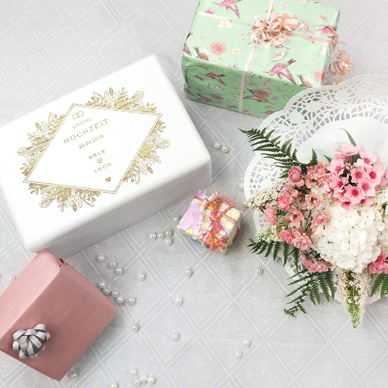 Florale Raute FSC/® 30x20x14cm LAUBLUST Holzkiste zur Hochzeit ca Geschenkkiste Personalisiert mit Gravur Wei/ß