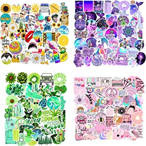 206PCS Waterproof VSCO Girls Stickers Purple Pink Green Blue Graffiti Stickers for Laptop, Water Bottle, Phone, Luggage, Tablet, Compartment, Skateboard, Aesthetic Durable Sticker for T (Fresh Colors)