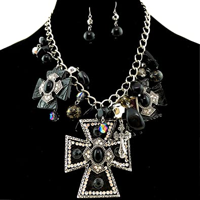 Amazon western peak western large cross pendant with charms amazon western peak western large cross pendant with charms necklace with pearl earrings black2 jewelry aloadofball