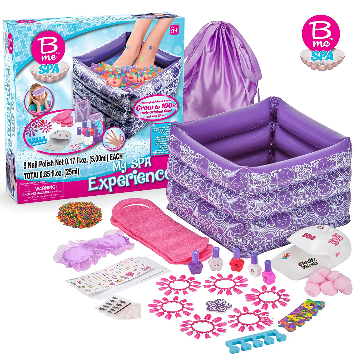 B Me My Spa Experience – Ultimate Kids Spa Kit w/ Nail Polish, Press On Nails, Nail Dryer, Stickers, Decals, Pedicure Pool, Bath Beads, Mask, Slippers, Satin Storage Bag & More – Recommended 6+ Creative Kids