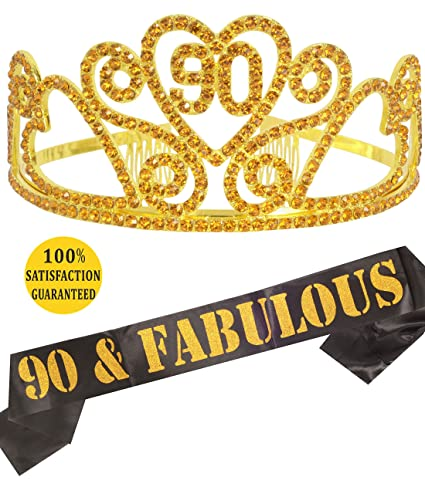 Gold 90th Birthday Tiara And Sash Happy Party Supplies 90 Fabulous Black Glitter Satin Crystal Crown For