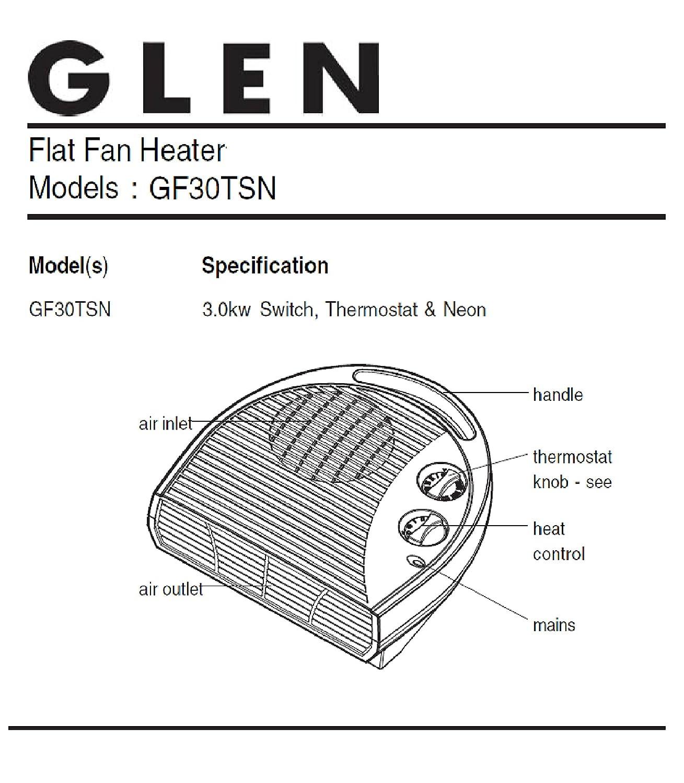 Glen GF30TSN 3KW Fan Heater, Plastic, 3000 W, White on