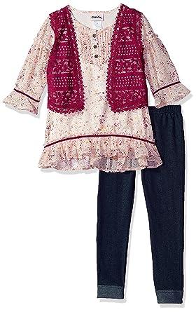 bc7a16670fb4 Amazon.com: Little Lass Girls' 3 Pc Lace Boho Vestie Set: Clothing