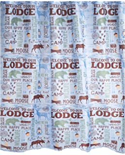 Lakehouse Fabric Shower Curtain Welcome To Our Lodge Wildlife Bear Moose Design