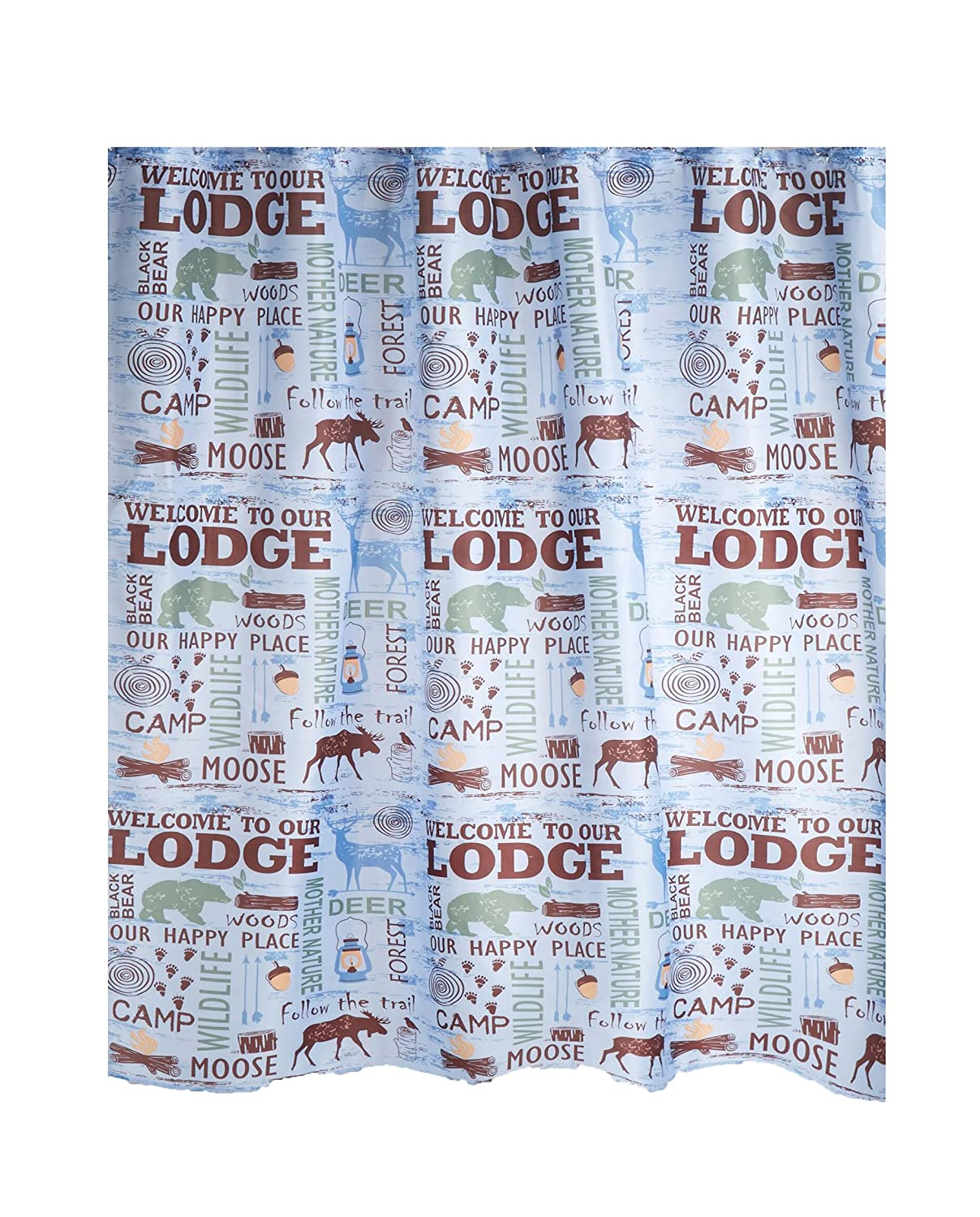 Moose Wild Animal 70*70 Inch Waterproof Fabric Shower Curtain Bathroom Mat Hooks