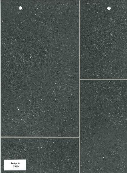 0550 Charcoal Tile Effect Anti Slip Vinyl Flooring Home Office