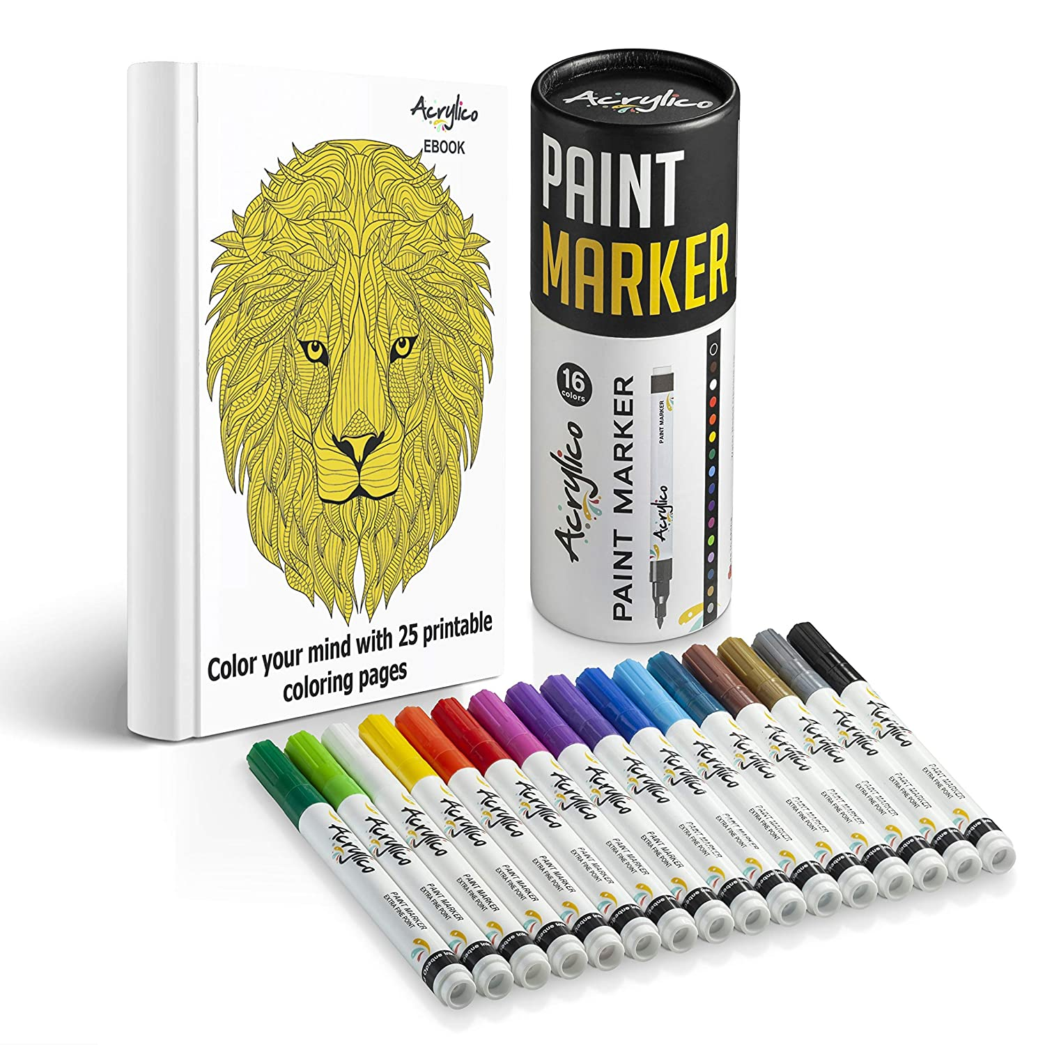 Acrylico Markers Paint Pens   16 Vibrant Colors Acrylic Pens Set   Extra-Fine Tip, Opaque Ink, Non-Toxic