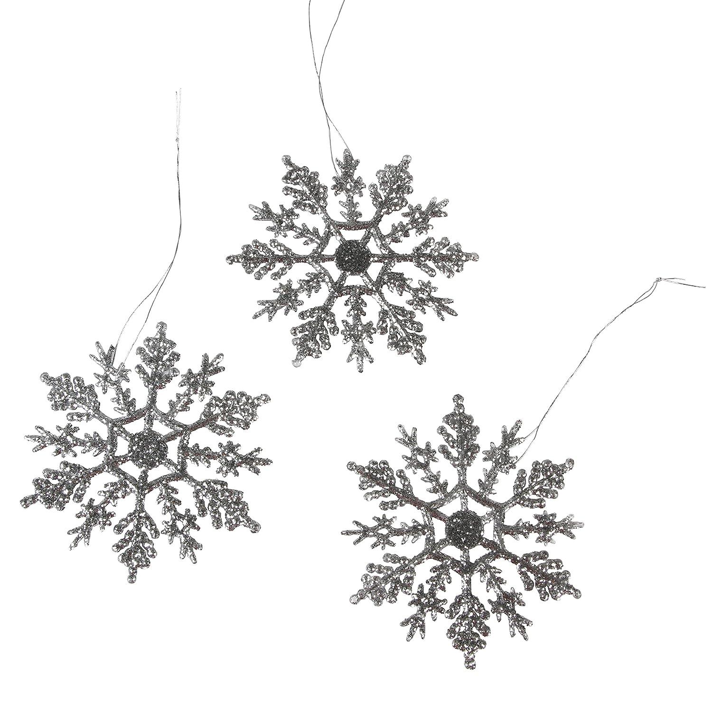 Darice 1619-62 10-Piece Snowflake Ornament 4-Inch Silver