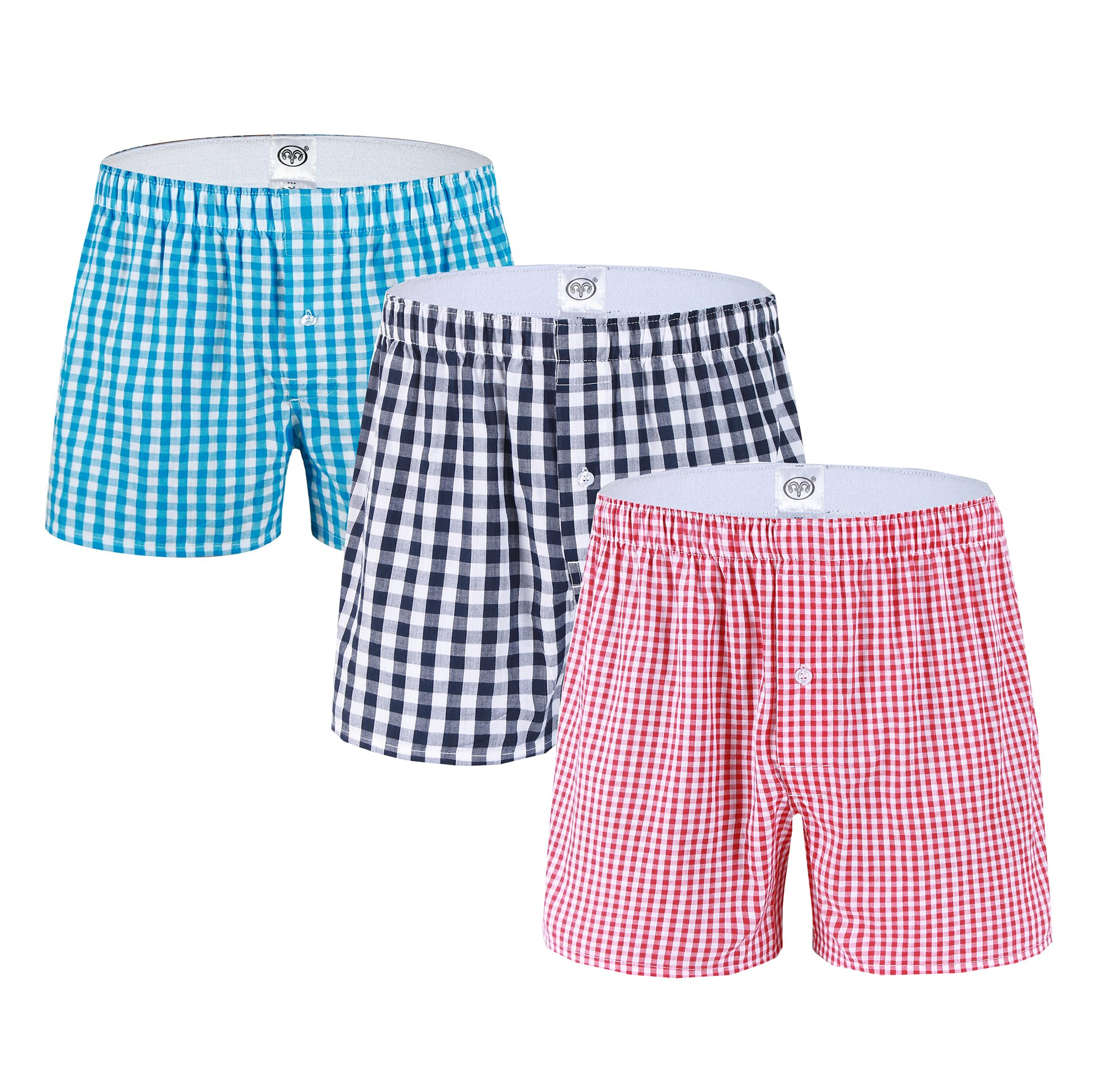 DD.UP Men's Summer Loose Stripe Underwear 3 Pack Cotton Classics Woven Shorts Boxer