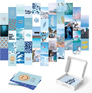 Photo Collage Kit for Wall Aesthetic Décor - by Haus and Hues | Beach Aesthetic Posters & Aesthetic Pictures for Wall Collage | Aesthetic Wall Collage Kit Prints (Blue Set of 50)