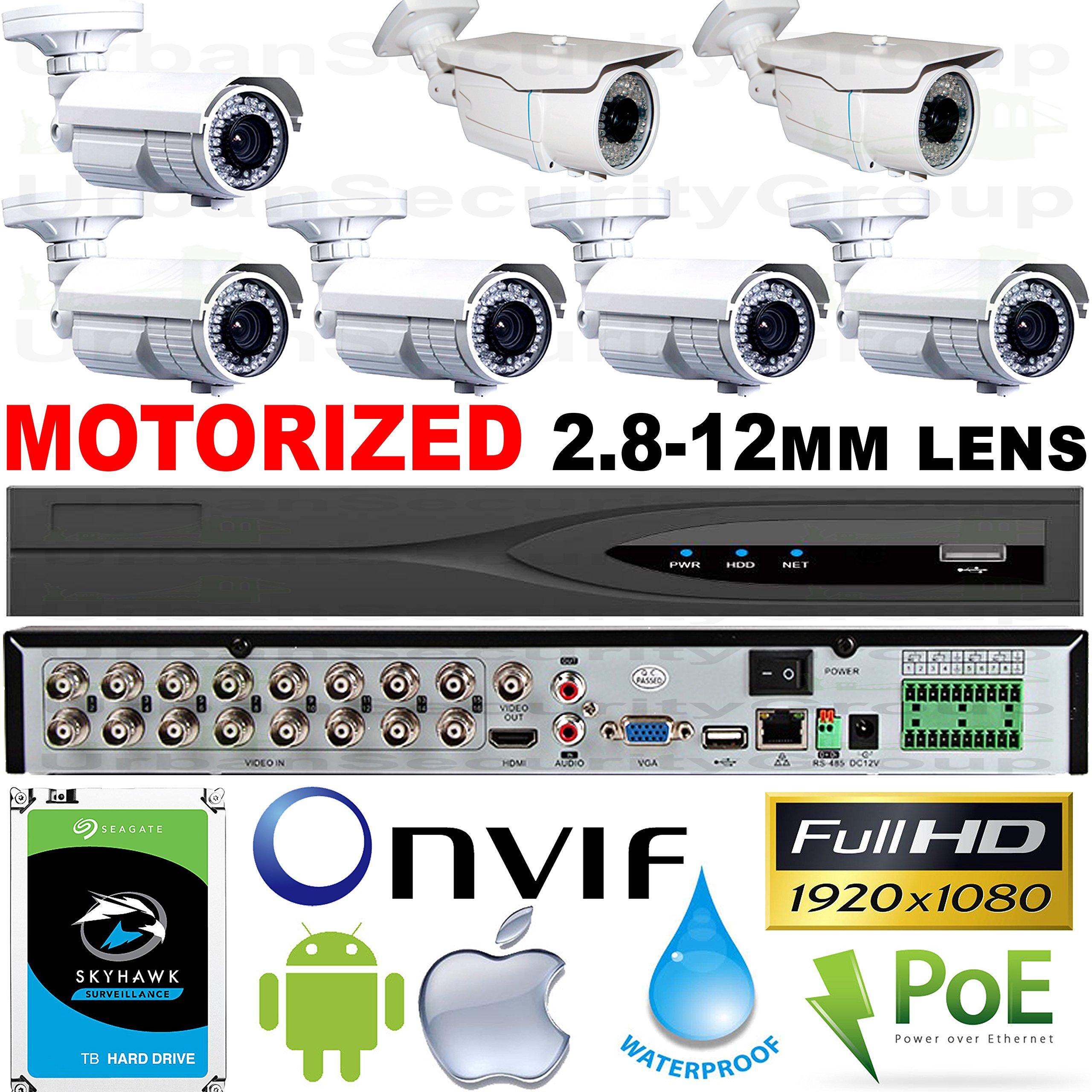 USG Business Grade 7 Camera Security System 1080P 2MP @ 30FPS HD-TVI : 5x Motorized Auto-Focus 2.8-12mm & 2x Manual 2.8-12mm Vari-focal Lens Bullet Cameras + 1x 16 Channel DVR + 1x 4TB HD