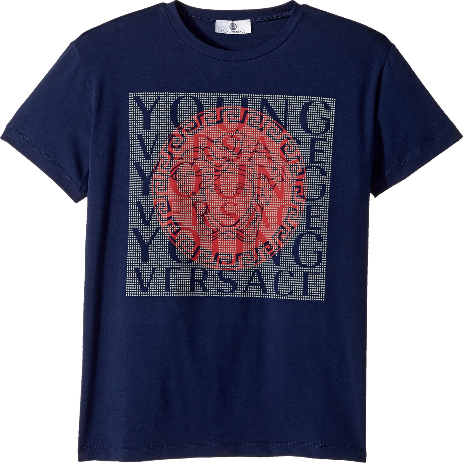 Versace Kids Boy's Short Sleeve T-Shirt w/Medusa Logo Design On Front (Big Kids) Blue 11-12 Big Kids by Versace