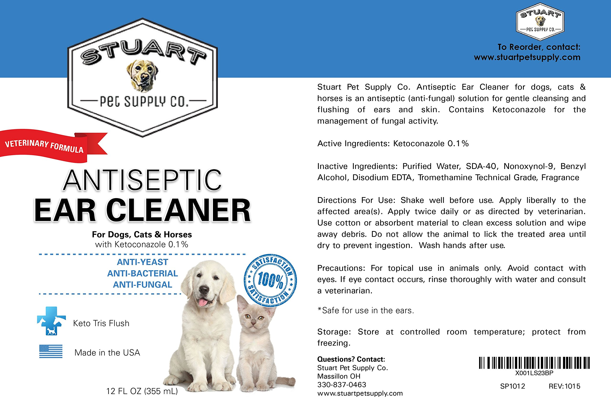 Stuart Pet Supply Co.. Antiseptic Ear Infection Treatment For Dogs-Veterinary Formulated-Veterinary Recommended For Head Shaking, Itching, Discharge & Smelly Ears 100% 12oz. by Stuart Pet Supply Co. (Image #6)
