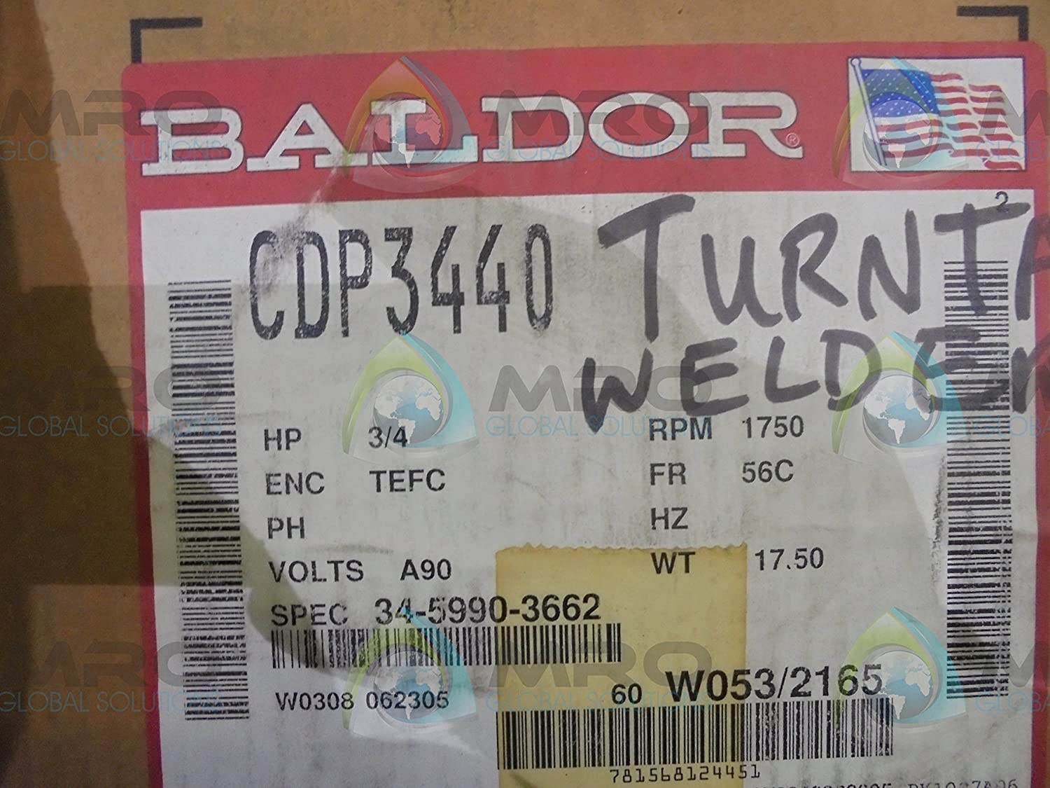 Baldor Cdp3440 56c Frame Tefc Dc Motor 075 Hp 1750 Rpm 3428p F1 High Voltage And Low Wiring